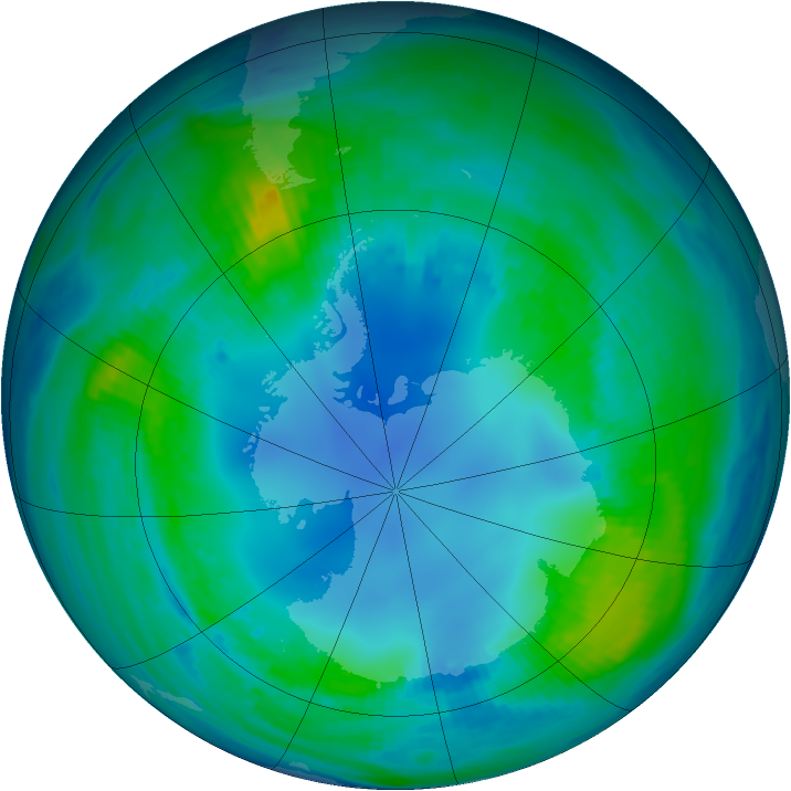 Antarctic ozone map for 05 May 1985